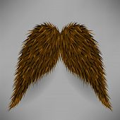 foto of rogue  - Brown Hairy Mustache Isolated on Grey Background - JPG