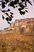 foto of rajasthani  - A view at dusk of the Mehrangarh Fort of Jodhpur in central Rajasthan India - JPG