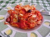 picture of pasta  - Plate of home made italian baked pasta on the table - JPG
