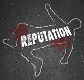 foto of fail job  - Bad Reputation chalk outline to illustrate poor credibility and death of a career - JPG