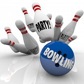 picture of striking  - Bowling Party words on a ball striking pins to illustrate or invite you to a fun celebration with sports activities - JPG