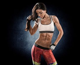 stock photo of slim model  - attractive fitness woman trained female body lifestyle portrait caucasian model - JPG