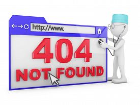 foto of not found  - Doctor explores the a web browser with the inscription  - JPG