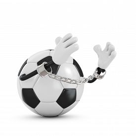 pic of ball chain  - Ball for football in handcuffs with a chain - JPG