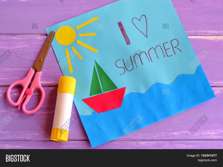 Paper Card With Ship Sun Sea I Love Summer Kids Camp