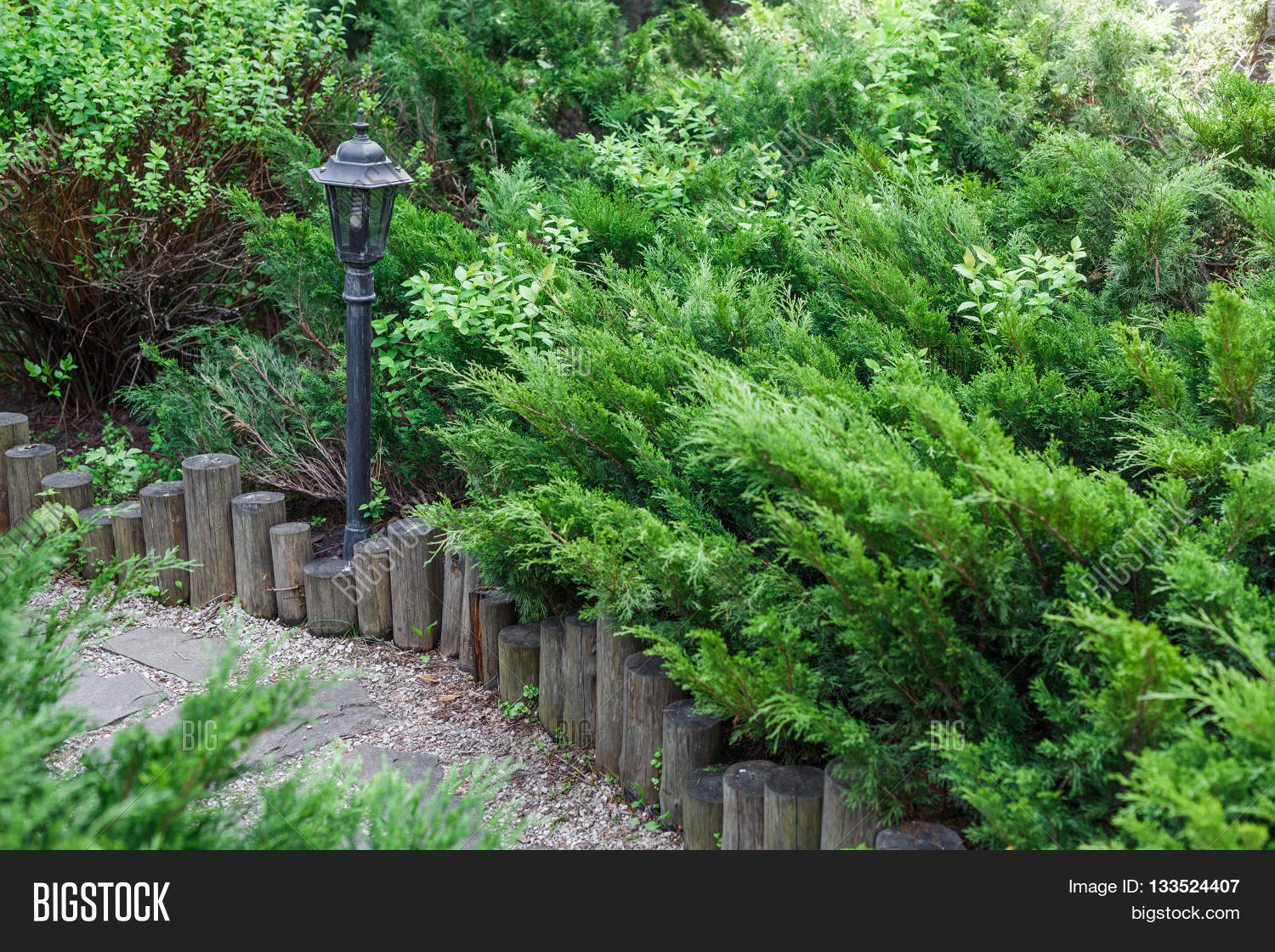 Landscape bushes and shrubs - Beautiful Landscape Design Garden Path With Park Light Wooden Fence Evergreen Bushes And