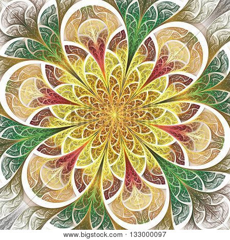 Multicolored flower pattern in stained-glass window style. You can use it for invitations notebook covers phone cases postcards cards wallpapers and so on. Artwork for creative design.