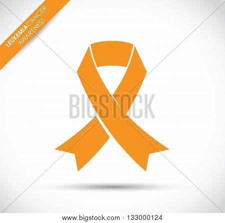 an orange leukemia cancer awareness ribbon icon