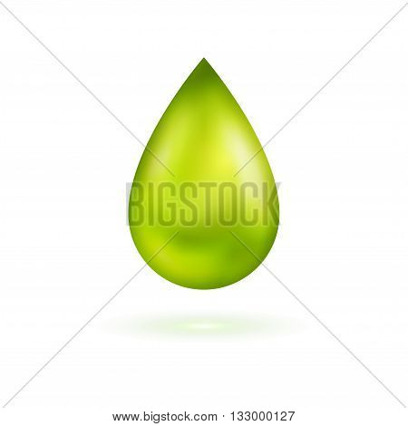 Green shining drop icon. Vector illustration. Glossy droplet, essence, isolated on white background.