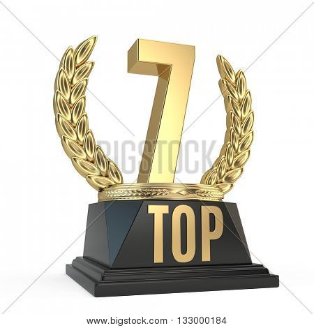 Top 7 seven award cup symbol isolated on white background. 3d render