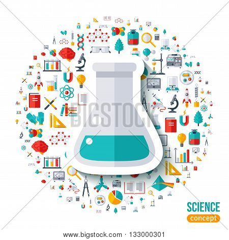 Chemical flask symbol flat sticker. Vector concept illustration with icons set of education and science. Scientific Research, Chemical Experiment.