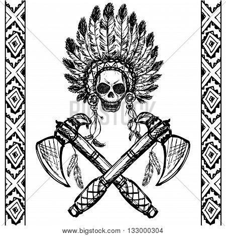 North American Indian chief with tomahawk hand drawnblack on white vector