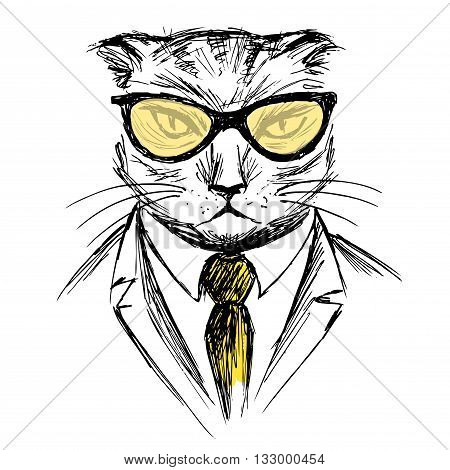 Hand Drawn Fashion Portrait of cat Hipster isolated on white background vector