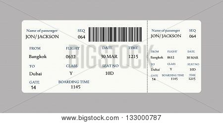 Vector image of airline boarding pass ticket with QR2 code.Vector illustration
