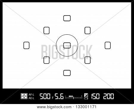 amateur DSLR photo camera viewfinder with AF dots, exposure and camera settings. Vector EPS8 background