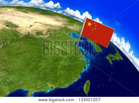 Flag marker over country of China on world map 3D rendering, parts of this image furnished by NASA