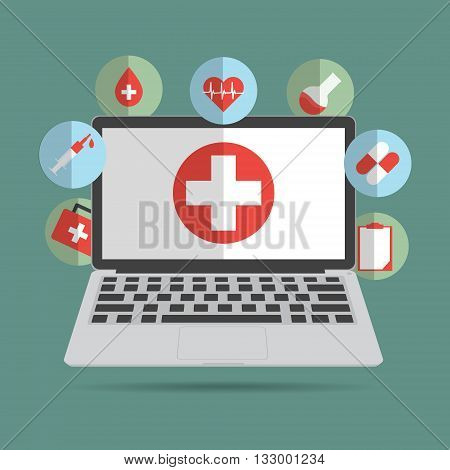 Computer laptop with medical sign icon concept of telemedicine and telehealth technology. Vector illustration cloud internet of things technology trend.