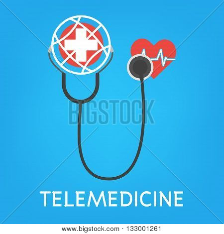 Globe with white cross and stethoscope for online diagnosis concept of telemedicine and telehealth technology. Vector illustration healthcare concept design.