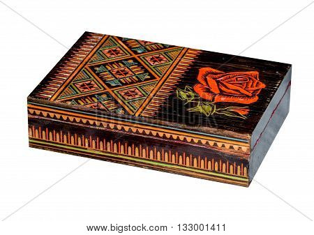 Wooden old casket in ukrainian folk style isolated