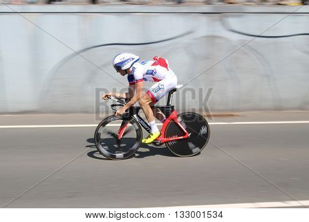 APELDOORN, NETHERLANDS-MAY 6 2016: Cyclist of pro cycling team Française des Jeux during the Giro d'Italia prologue time trial.