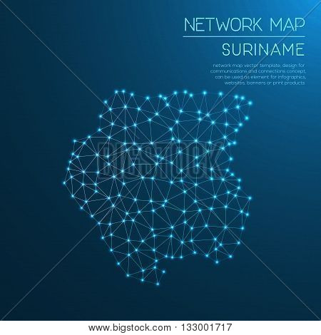 Suriname Network Map. Abstract Polygonal Map Design. Internet Connections Vector Illustration.