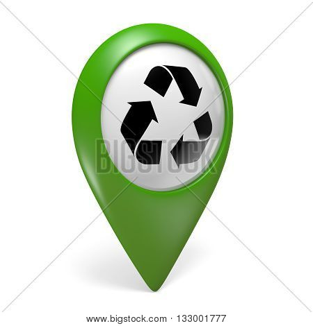 Green map pointer icon with a symbol for recycling centers, 3D rendering