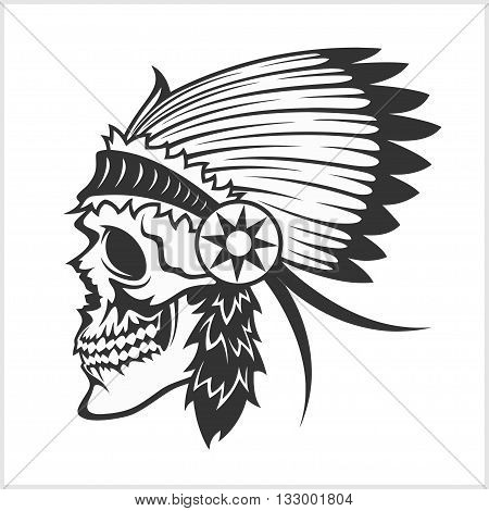 native american indian chief headdress - indian chief mascot, indian tribal headdress, indian headdress - isolated on white