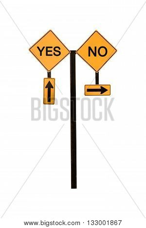 Directional Arrow Road Sign Yes and No concept