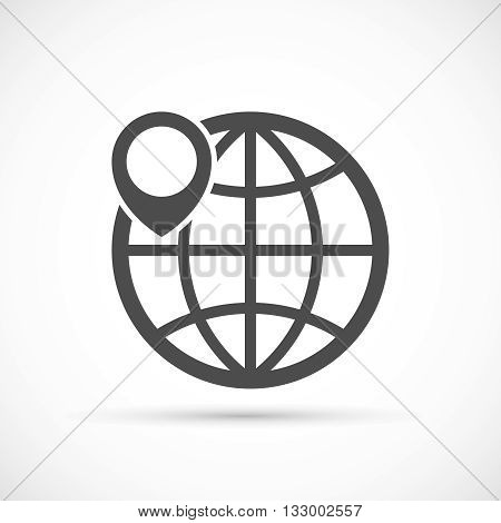 Globe with pin icon. Geo location sign. Geotagging globe vector concept