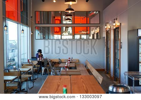 JERSEY CITY, NJ - MARCH 21, 2016: inside of Beechwood cafe in Jersey City. Jersey City is the second most populous city in the U.S. state of New Jersey after Newark