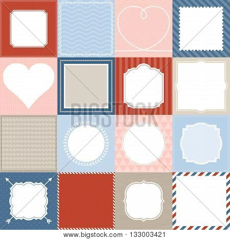 set of 16 frame, border lace and background design for application mobile, nautical frame theme, valentine frame theme, post office background theme, vintage and retro style