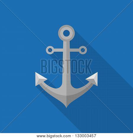 anchor illustration, metal anchor icon vector, nautical sign, flat design