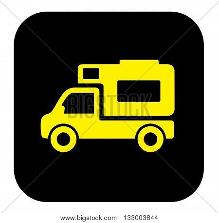 yellow camper trailer icon on black background