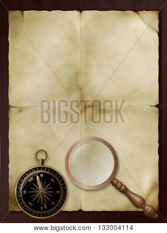 Old paper retro magnifier and compass on wood background