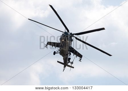BERLIN / GERMANY - JUNE 3 2016: Czech Mil Mi - 24 Hind attack helicopter flies on ILA in berlin germany on june 3 2016.