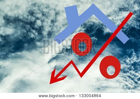 Red percent sign in the background against the sky and clouds