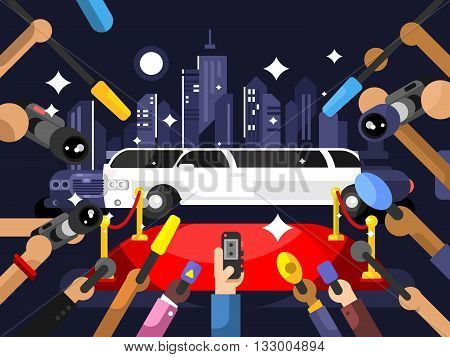 Limousine and red carpet. Luxury car and event entertainment night, vector illustration
