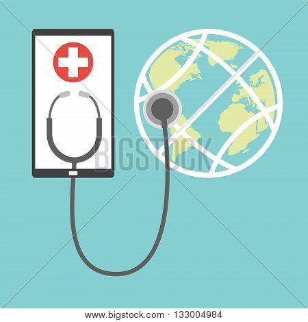 Smart phone tablet with white cross and stethoscope for globe online diagnosis concept of telemedicine and telehealth technology. Vector illustration healthcare concept design.