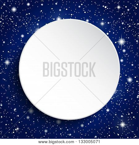 White circle banner on a starry sky.