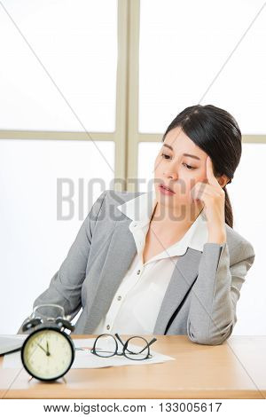 Exhausted Asian Businesswoman Overtime And Overworked