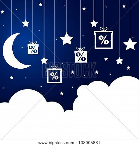 Caption -Good night shopping. On the night sky with elements of paper clouds and stars on a string