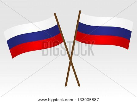 Flag of Russia. Two crossed Russian flag with the shaft. Isolated.