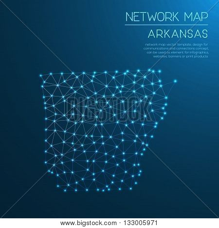 Arkansas Network Map. Abstract Polygonal Us State Map Design. Internet Connections Vector Illustrati