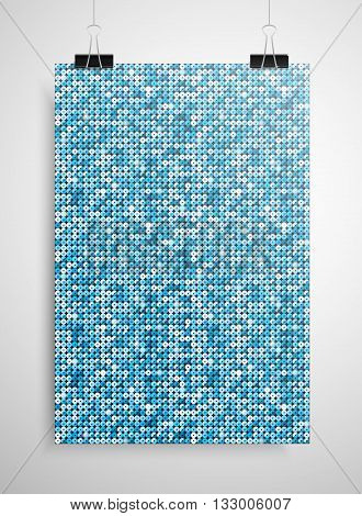 Abstract background. A poster on the wall at the terminals of the paper. Blue sequin background. EPS 10.