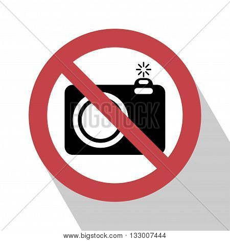 No camera sign. No camera no photo sign red prohibition. All in a single layer. No photo camera vector sign isolated on white background. No photo Sign with Long Shadow.