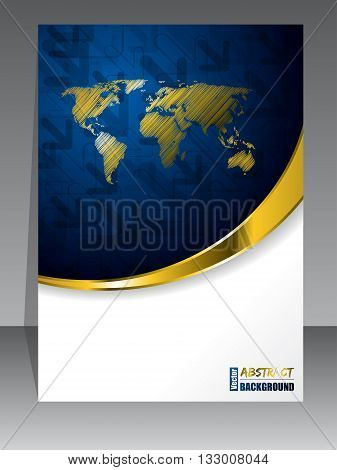 Abstract blue gold brochure with golden world map