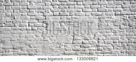 Old Whitewashed Plastered Brick Wall Background Texture