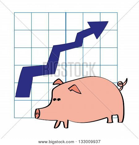 A pig in front of a chart with an arrow pointing upwards as a metaphor for growth in savings or investments
