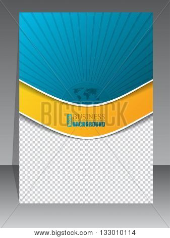 Abstract turquoise orange brochure with bursting world map and photo container