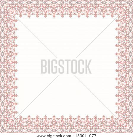 Classic pink square frame with arabesques and orient elements. Abstract fine ornament